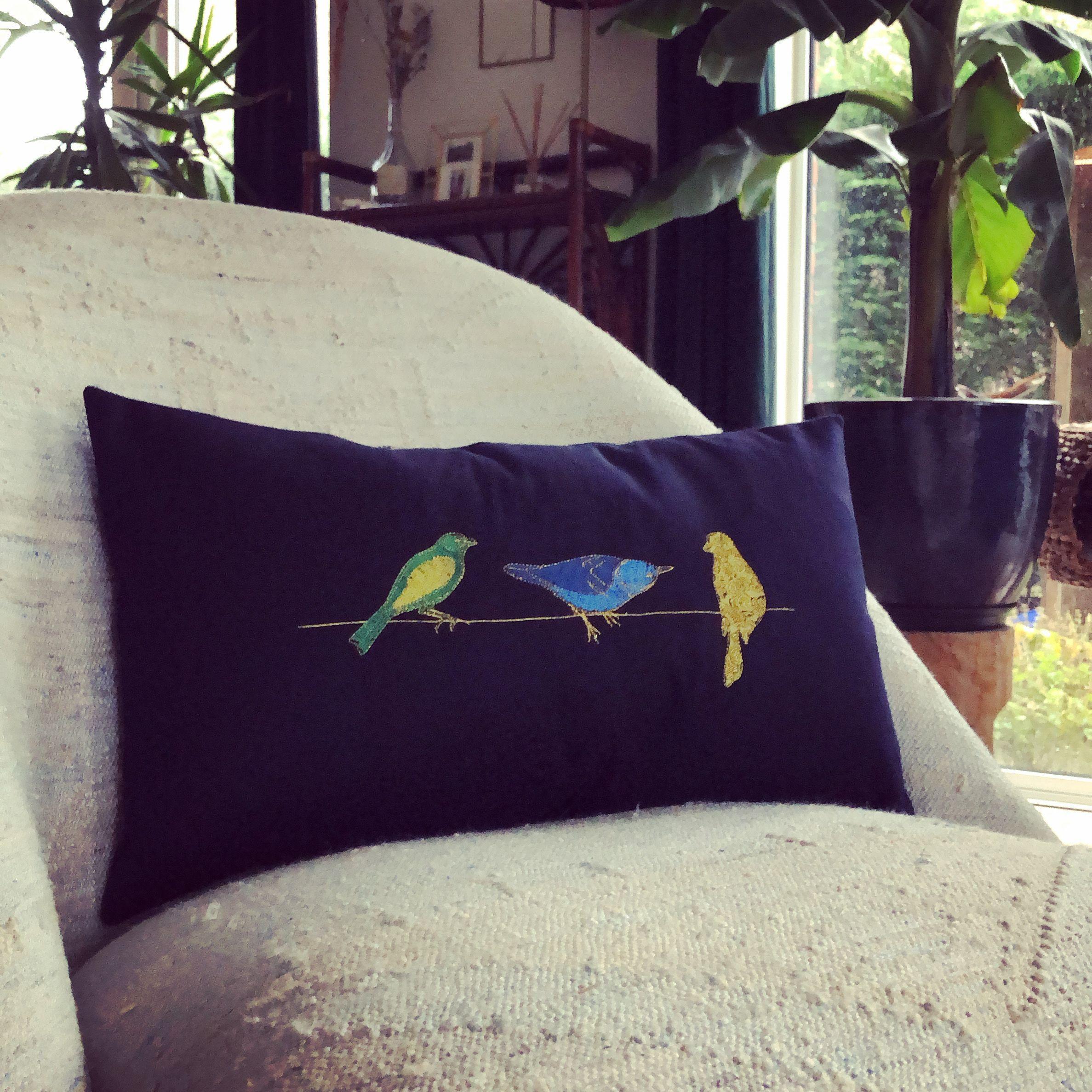 Embroidered Pillowcase Birds Kristien